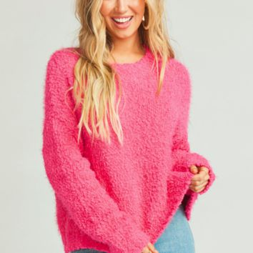 Knubby Knit Cropped Varsity Sweater in Dazzling Pink