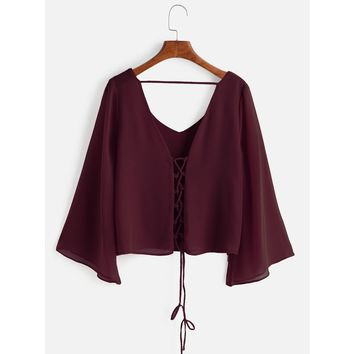 Kimono Sleeve Criss Cross Lace-Up Blouse Burgundy