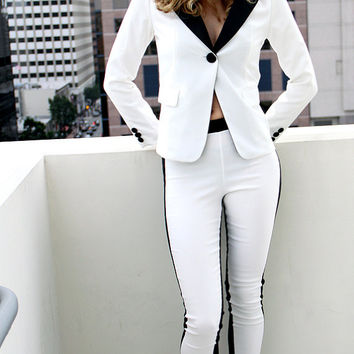 MidKnight Rider Day For Night Classic Color Block Pull On Skinny Pants -Leggings  - At The Fashion Corp