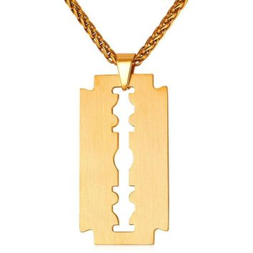 Razor Blade Necklace- Gold