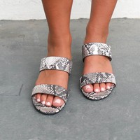 Like It Snakeskin Two Strap Mini Heel