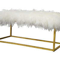 "Moss Studio, Block 40"" Sheepskin Bench, Ivory/Gold, Bedroom Bench"