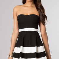 Black and White Short Strapless Dress