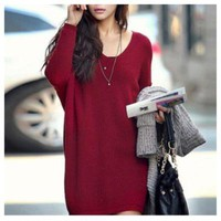 V-neck Long Sweater in Red