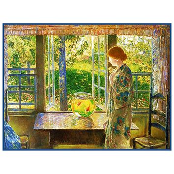 Woman looking The Goldfish Window by American Impressionist Painter Childe Hassam Counted Cross Stitch Pattern