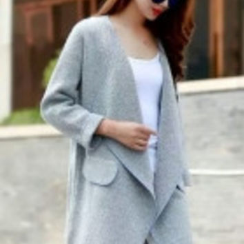 Grey Draped Open Front Knitted Midi Cardigan