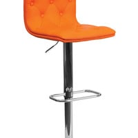 Contemporary Tufted Orange Vinyl Adjustable Height Bar Stool with Chrome Base
