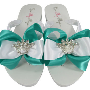 Crown Teal Wedding Flip Flops, Tropic Princess Bridal Flip Flops, Wedge Ivory or White Platform or Flat, Bridesmaid Shoes, Thongs