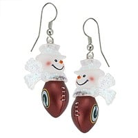 Green Bay Packers - Snowman Football Dangle Earrings