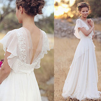 Beach Long Wedding Dresses 2017 Cap Sleeves V Neck Floor Length Sexy Backeless Vestido De Noiva Lace Of The Tulle Bridal Gowns