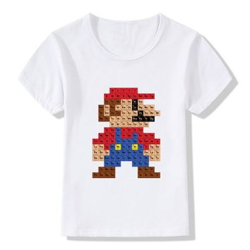 2017 Children Super Mario Periodic Table Funny T-Shirts Kids Summer Tops Girls Boys Short Sleeve Clothes Baby T shirt,HKP2110