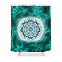 Society6 Blue Mandala Shower Curtain