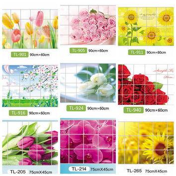 Home Decoration Accessories Waterproof Aluminum Foil Wall Sticker Tiled Kitchen Bathroom Wall Decoration Tulip Flower Rose