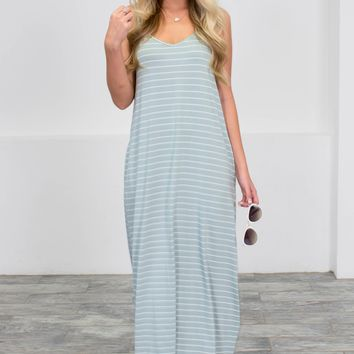 Orlando Mint Green Striped Maxi Dress