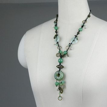 jade copper coin antique lariat necklace Bridesmaid gifts Free US Shipping handmade Anni designs