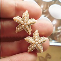 sea star Starfish pearl stud earrings