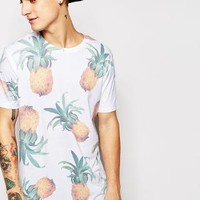 ASOS | ASOS T-Shirt With All Over Pineapple Print In Relaxed Fit at ASOS