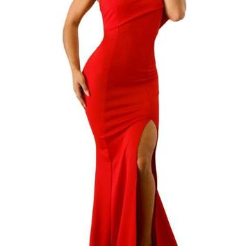 Fashion Red Off The Shoulder One Sleeve Slit Maxi Party Prom Dress