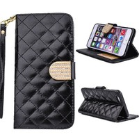 Black Bling Diamond Card Leather Wallet Flip Case For iphone 6 Plus 5.5
