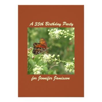 35th Birthday Party Orange Butterfly Personalized Invitation