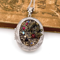 Hoard of the Dragon Necklace Locket with Swarovski® Elements Rhinestones Fantasy Jewelry