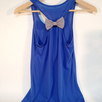 Royal Blue Flowy Tank with  Removable Grey Bow. Also, Personalized with Matching Grey Glitter Vine Monogram