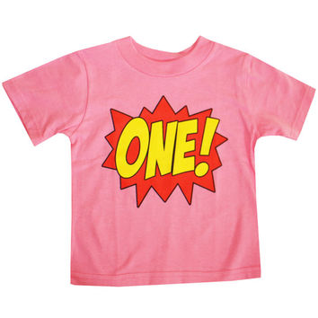 Kids SUPERHERO First Birthday T-shirt - Hot Pink