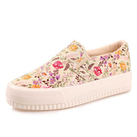 Flat floral canvas shoes for women 2016 slip on platform casual shoes women's fashion female footwear size 35-40