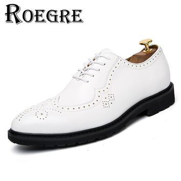 ROEGRE 2017 New Spring Handmade Men Oxfords Shoes White PU Leather Brogues Dress Shoes Wingtip Flats Shoes Black White Brown