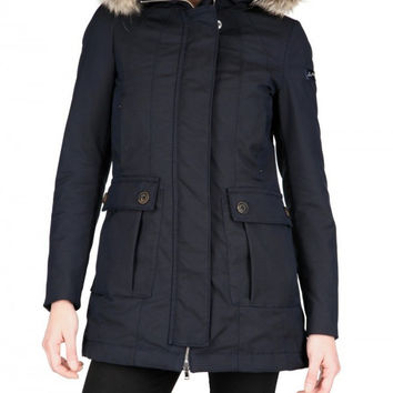 DHL/EMS free shipping navy fur trim stretch nylon canvas jacket  fashion coat new jacket