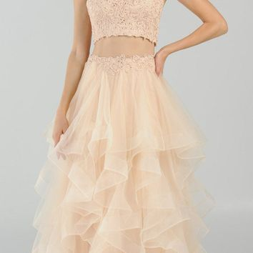 Two-Piece Tiered Long Prom Dress Halter Crop Top Champagne