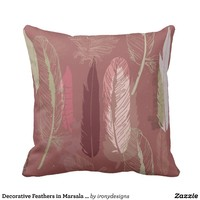Decorative Feathers in Marsala Wine Personalize Throw Pillow