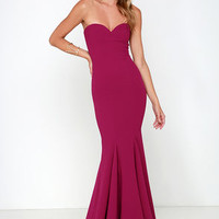 Sorella Wine Red Strapless Maxi Dress