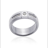 White Diamond 5 cts TGW Lab Created Men's Ring in Stainless Steel - Size 13