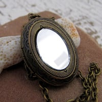 Mirrored Locket Necklace- Antiqued Brass - The Looking Glass