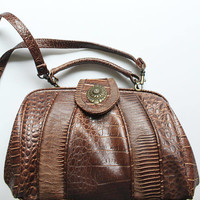 Vintage Faux Brown Crocodile Top Handle Doctor's Bag Shaped Handbag Purse 1980s