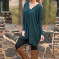 Oh So Lucky Sweater Tunic, Forest Green