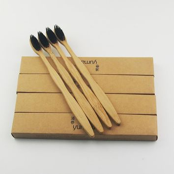 12 Pieces Black 100% Bamboo Toothbrush Wood toothbrush