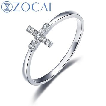 ZOCAI Ring Cross Shape Natural 0.05 CT Diamond Ring with Real 18K White Gold (Au750) W06115