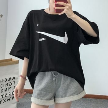 NIKE 2018 summer new loose cotton T-shirt + elastic waist cuff shorts set two-piece F0471-1 black