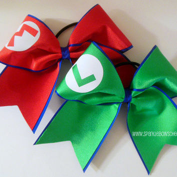Mario and Luigi Set Cheer Bow  Hair Bow Cheerleading