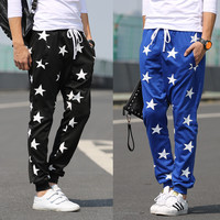 White Stars Print Slim Fit Harem Sweatpants