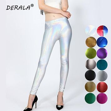 2018 Ladies Silver Metallic Shiny Laser Leather Leggings Women Candy Color Sexy Club Punk Rock Faux Leather Leggings Leggins