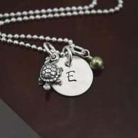 My Petite Turtle Initial Necklace - Hand Stamped Sterling Silver Turtle Tortoise Necklace