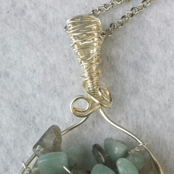 Handcrafted Wire Wrapped Aquamarine & Labradorite Gemstone Tree of Life Pendant,Nature Jewellery,Healing Crystals,Reiki,Yoga Jewelery, Bird