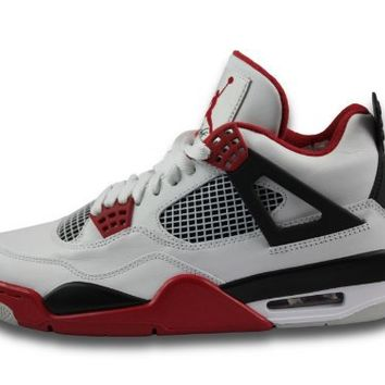 Mens Nike Air Jordan Retro 4 Basketball Shoes White / Black / Varsity Red 308497-
