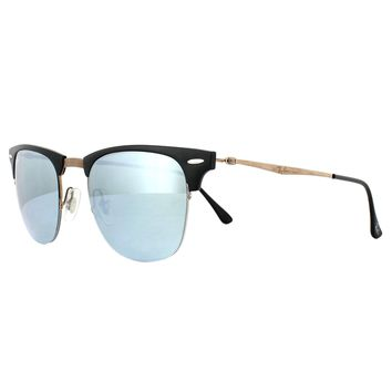 Ray-Ban Sunglasses Clubmaster Light Ray 8056 176/30 Black Brown Silver Mirror 49