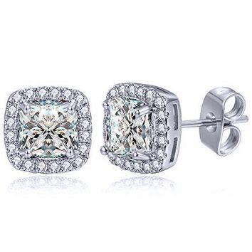 Princess Cut Halo Stud Earrings in 14K Gold Plating Made with Swarovski Crystals