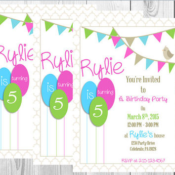 Bird On A Bunting Birthday Invitation