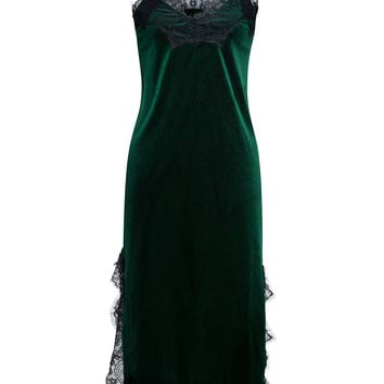 Deep Green Velvet Spaghetti Strap Lace Trim Dress